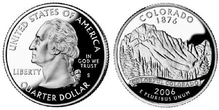 "SILVER PROOF 2006 S USA COLORADO /""Rocky Mountains/"" SILVER QUARTER w HOLDER"