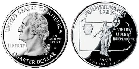 1999-S State Quarter Clad Proof Pennsylvania PA