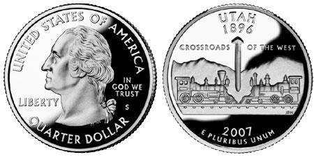 2007 P  Utah State ~ Washington Statehood Quarter ~ From U.S Mint Roll